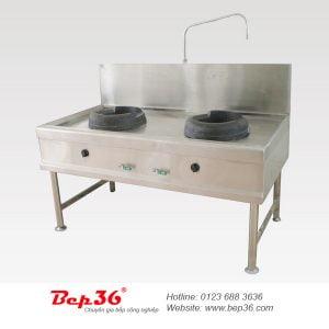 Bếp Á 2 họng lò gang 1 vòi nước