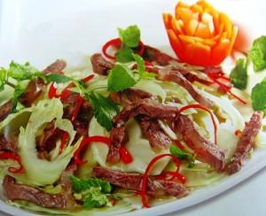 Gỏi búp cải sen trộn bắp bò