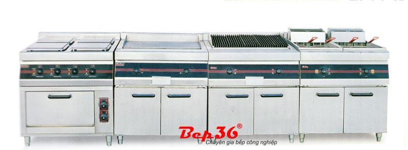 Dàn bếp rán mặt phẳng, chiên nhúng, kết hợp lò nướng, tủ giữ nóng thức ăn sử dụng gas/điện do Bếp 36 phân phối và lắp đặt.